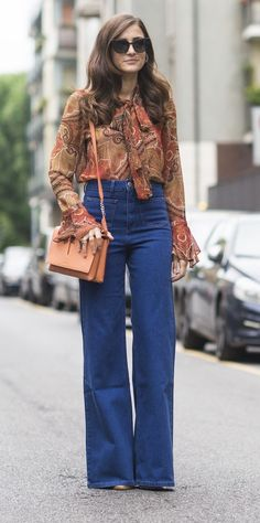 Wide-leg jeans and a printed boho top