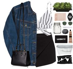 bad at love by omgjailah featuring lidded jars ❤ liked on Polyvore Forever New overlay skirt, $46 / White camisole / Dr. Martens buckle sandals, $96 / Yves Saint Laurent white tote bag, $1,870 / Adidas bezel watch / Ray Ban ray ban eyewear / Gift...