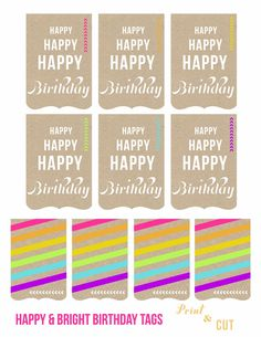 Happy Birthday Tags Free Printable Gift Printables Party