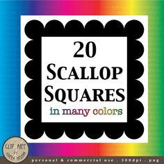 Digital Clip Art - 20 Scallop Square Frames in Many Colors on Etsy, $2.00