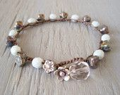 "Crochet bracelet - slashKnots Stackers ""Bohemian Corsage- Denim"" indigo steel blue, rustic flowers, Thai silver, fall boho chic"