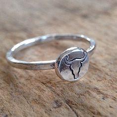 Longhorn Ring, Steer Skull Outline, Sterling Silver Ring, Bull Ring, Cow Head, Rustic Ring, Southwestern Jewelry, Boho Ring by TesoroDelSol