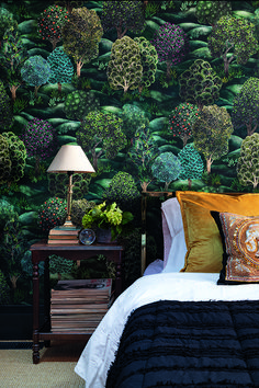 This beautiful bedroom features the stunning stunning Forest wallpaper by Cole and Son which creates an enchanting feel Forest Bedroom, Cosy Bedroom, Bedroom Green, Bedroom Colors, Bedroom Wall, Bedroom Decor, Bedroom Styles, Kids Bedroom, Bedroom Ideas