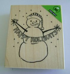 Hey, I found this really awesome Etsy listing at https://www.etsy.com/listing/230908745/happy-holiday-snowman-rubber-stamp