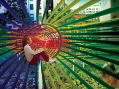 Stringy Spectral Playgrounds - The Rainbow Ropes Project Envisions Colorful and Dynamic Urban Spaces (GALLERY) Playground Design, Outdoor Playground, Playground Toys, Natural Playground, Kids Restaurants, Urban Intervention, Kindergarten Design, Urban Fabric, Outdoor Learning