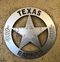 """Texas Ranger~Wall Badge - 18""""- cut from 11ga steel-(.115)-right at an 1/8"""" thick. Hanger welded on the back. It has a baked on powder coat finish (silver) or can be sanded evenly and powder coat clearcoated. $99.00 plus tax (Texas only) - and shipping ~JDH Iron Designs www.starsovertexas.com email me: jimmydon@starsovertexas.com or call or text 254 749 2925"""