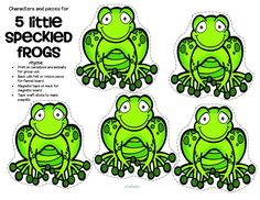 ***FREE*** Characters and pieces for 5 Little Speckled Frogs rhyme in color and b/w. Use for group teaching and individual activity. 4 pages