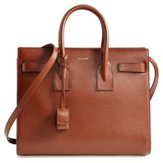 Saint Laurent 'Small Sac de Jour' Leather Tote (11.420 RON) ❤ liked on Polyvore featuring bags, handbags, tote bags, bolsas, purses, zippered tote, brown leather purse, zip tote bag, brown leather handbags and brown leather tote bag