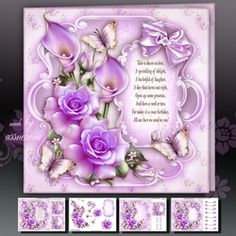 Purple Roses With Callas Card Mini Kit