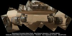 Panorama of Curiosity's Belly Check by Lunar and Planetary Institute on Flickr.A través de Flickr:  This view of the lower front and underbelly areas of NASA's Mars rover Curiosity combines nine images taken by the rover's Mars Hand Lens Imager (MAHLI) during the 34th Martian day, or sol, of Curiosity's work on Mars (Sept. 9, 2012).  Curiosity's front Hazard-Avoidance cameras appear as a set of four blue eyes at the top center of the portrait. Fine-grain Martian dust
