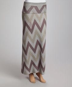 Burgundy Zigzag Maxi Skirt $14.99