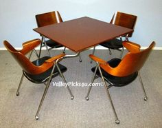 Vintage Mid Century Eames Danish Modern FLOATING Table Chair Dining Set New York