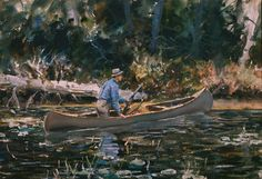 John Whorf   Hunting by Canoe, a double-sided work (Hiking on verso), 1930s   (Watercolor on paper, 15 1/4 x 22 inches)   Spanierman Gallery, NYC  ==============  Click to view full size image