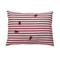 Ticking Beetle Cushion by English makers Thornback & Peel. Hand printed stripes with flock beetles that are eerily irresistible to touch. A fun, cute and curious cushion that will always make people look twice.     100% cotton with duck feather core.  30cm x 40cm - Red & White or Black & White