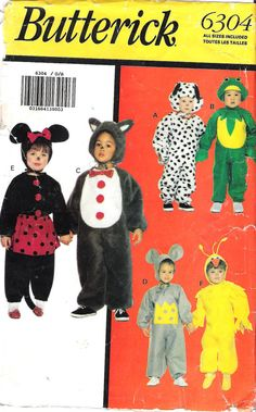 Butterick 6304 Toddlers Costumes Sewing Pattern - Minnie Mouse, Mouse, Big Bird, Dalmation, Frog