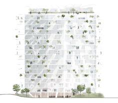 """Arbre Blanc"" -futurist high-rise in Montpellier by Sou Fujimoto - Decoration Sou Fujimoto, Japanese Architecture, Amazing Architecture, Modern Architecture, Architecture Graphics, Architecture Drawings, Montpellier, Elevation Drawing, Architectural Section"