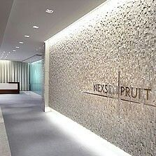 Plaster Behind Reception Wall Between With Company Name Written Office DesignLaw