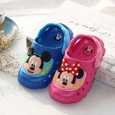 Buy Disney children s LED flash cool slippers cartoon Mickey boys girls  sandals summer non-slip bathroom beach Minnie hole shoes 37d596ad40d