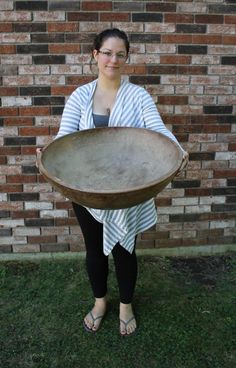 Huge 24 inch Antique 19thC New England Primitive Maple Wood Bowl Sold Ebay 935.00