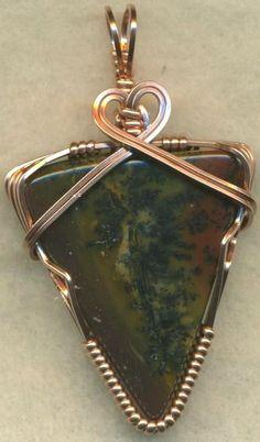 Tiffany Stone Copper Wire Wrap Pendant