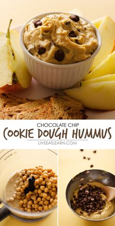 This Chocolate Chip Cookie Dough Dessert Hummus recipe is a fast, healthy, and gluten-free way to indulge in your cookie dough craving! Packed with chickpea protein and tahini, indulgent white chocolate, and sprinkled with chocolate chips, this is a gluten-free dessert or snack that is the perfect healthy sweet tooth remedy. // Live Eat Learn