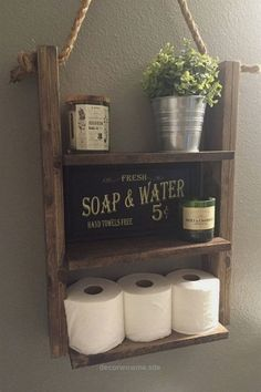 Beautiful Rustic Wood and Rope Ladder Shelf [ D E S C R I P T I O N ] Our Hanging Rope Shelf will make a statement in any home and can be utilized anywhere in your house without worry, including y ..