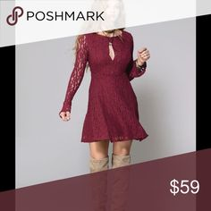 Free People burgundy lace, bell sleeve SALE Heads will turn as you enter the room! Sexy, peep-front, lovely skirted, lacy, feminine dress. EUC, Sz S Worn once for an occasion, Free People Dresses Mini