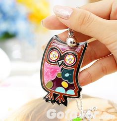 $4.79 Vintage Rhinestone Owl Pendant Long Chain Necklace at Online Vintage Jewelry Store Gofavor