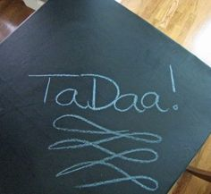 redo the top of a card table with chalkcloth - you can write on it with chalk!