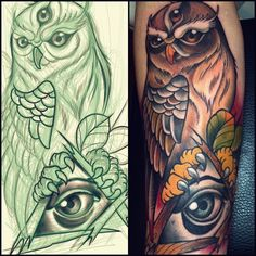 Willem Janssen - neo traditional owl with third eye <3