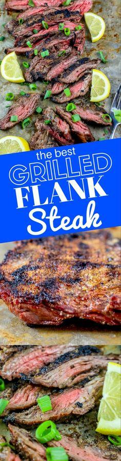 The Best Garlic Grilled Flank Steak Recipe - Sweet Cs Designs Flank Steak Tacos, Steak On Gas Grill, Flank Steak Recipes, Grilled Steak Recipes, Grilling Recipes, Beef Recipes, Cooking Recipes, Flank Steak Grill Time, Marinade For Steak