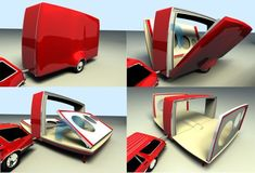 """However, the """"FolDoub"""" by Dutch designer Niels Caris is a caravan with difference that folds into smaller dimension for easy transportation through link roads connecting far-flung places. Applying the basic principle of a classic travel sleeper, the FolDoub generously expands its available floor-space of an average mid-sized caravan to accommodate a small family comfortably. Touting an aerodynamic design, the foldable caravan can be stowed with minimum efforts within no time."""