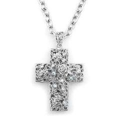Silver tone large crucifix with clear crystals. Size: Width: Drop Length: Chain Length: Packaging: Each Cazabella piece comes packaged in a satin pouch. Crucifix, Clear Crystal, Fashion Accessories, Pouch, Packaging, Satin, Drop, Crystals