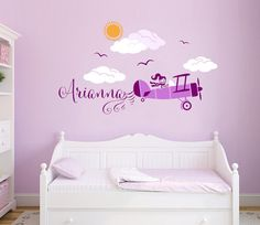 Airplane Personalized Custom Name Wall Decal Sticker For Nursery Or S Room Decals