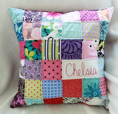 Love the use of small fabric bits in this scrappy pillow by Stitch Fancy.