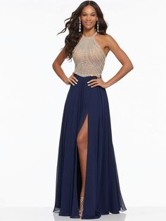 Estilo IVZXV Crystal Beaded Net on Chiffon Sleek Prom Gown Featuring a Side Slit, Flowy Chiffon Skirt and Fully Beaded, High Neck Bodice with Strappy Back. Navy Ball Dresses, Sexy Dresses, Grad Dresses Short, Dresses For Teens, Dresses Uk, Formal Dresses, High Slit Dress, Designer Prom Dresses, Chiffon Gown