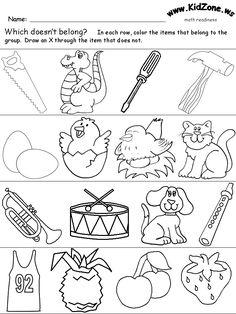 Which Items Don't Belong 1 Alphabet Phonics, Phonics Worksheets, Writing Worksheets, Kindergarten Worksheets, Worksheets For Kids, Preschool Colors, Free Preschool, Preschool Learning, Fun Learning