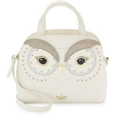 Kate Spade New York Owl Leather Mini Crossbody Bag ($348) ❤ liked on Polyvore featuring bags, handbags, shoulder bags, white, white crossbody purse, white leather shoulder bag, cross-body handbag, leather crossbody handbags and leather crossbody