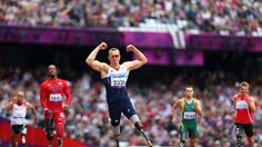 Richard Whitehead of Great Britain celebrates winning gold in the men's 200m - T42 Final on Day 3 of the London 2012 Paralympic Games at theOlympic Stadium