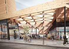 World Architecture Community News - A massive triangular wooden canopy wraps Ede Wageningen Train Station in the new images by Mecanoo
