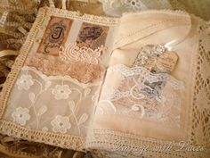 Fabric book page lace shabby chic idea Shabby Chic Crafts, Vintage Crafts, Fabric Journals, Art Journals, Vintage Journals, Handmade Journals, Handmade Books, Fabric Art, Fabric Crafts