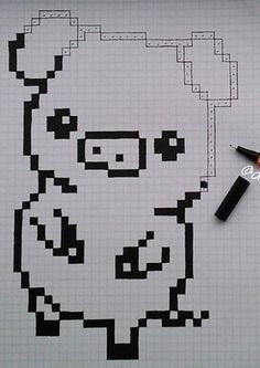 Graph Paper Drawings, Graph Paper Art, Easy Drawings, Square Drawing, Easy Pixel Art, Modele Pixel Art, Pixel Drawing, Minecraft Pixel Art, Perler Bead Art