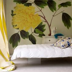 Teenage Yellow Flower Wall Murals Bedroom Inspirations - Stuning Idea for Interior Design, Home Decorators and Life Style Decor, Interior, Bedroom Murals, Flower Bedroom, Flower Mural, Home Decor, Wall Murals Bedroom, Interior Design, Wall Design