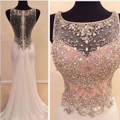 2016 Custom Charming Pink Chiffon Prom Dress,Beading See Through Evening Dress