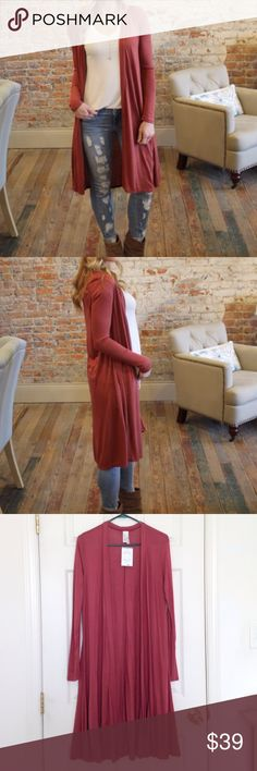 """🦋New Listing🦋Rust Long Sleeve Longline Cardigan Brand new with tag. 100% rayon - stretchy. Measurement laying flat: bust: 19"""" length: 40"""" I love S & S Inc. Sweaters Cardigans"""