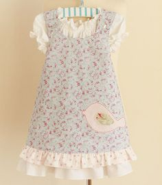 Little Girl's Reversible Pinafore & Underdress Bunny and Bird