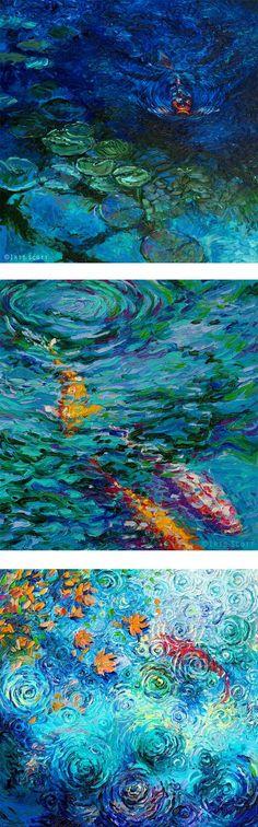 Koi original acrylic painting auspicious koi pond series for Scott and white fish pond