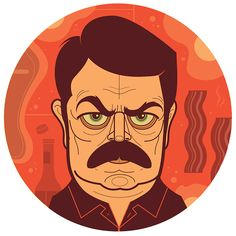 Illustrated Portraits of Secondary TV Characters by Graham Erwin RON SWANSON!