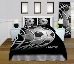 Black Soccer Bedding, great for girls and boys!  Personalized at the bottom.