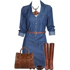 Denim Dress w/ Leather Boots & Bag